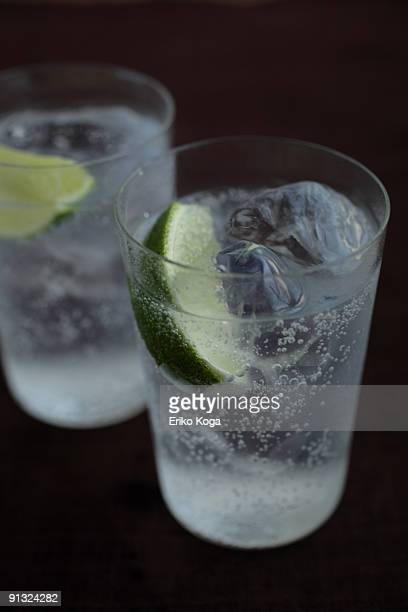 Glass of soda with lime