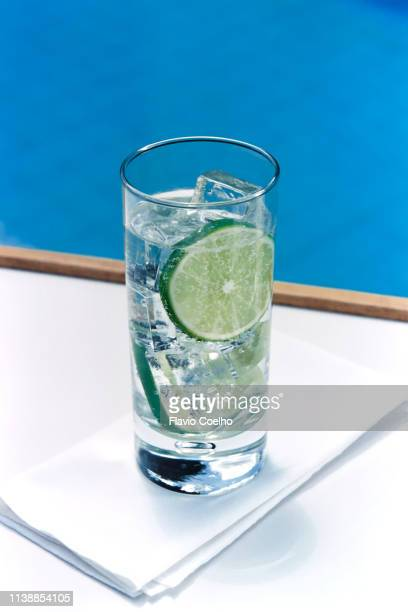 glass of sparkling water with ice cubes and a slice of lime - tonic water stock pictures, royalty-free photos & images