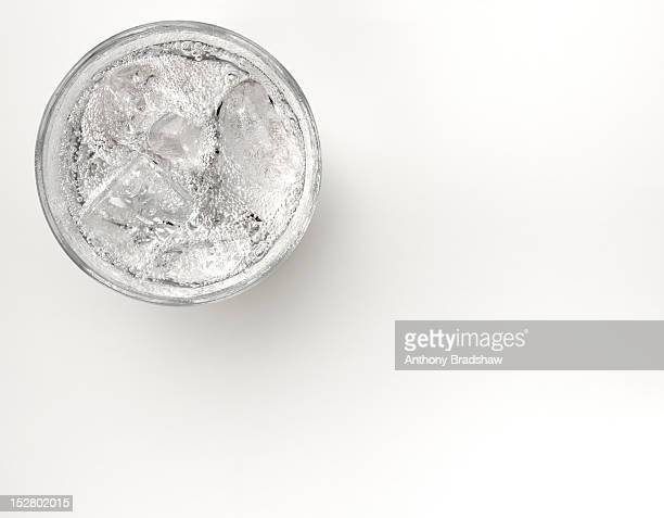 A glass of sparkling water with ice