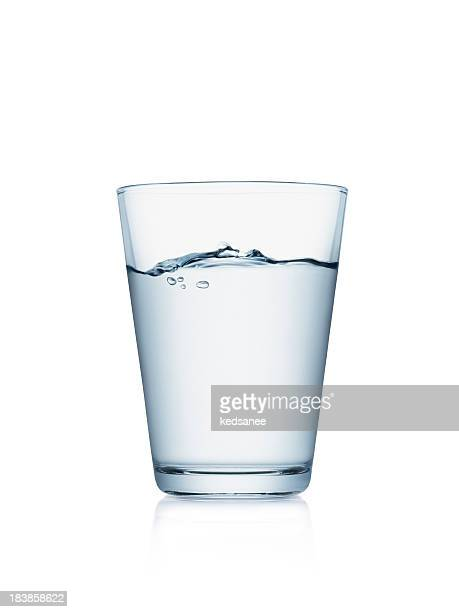 glass of water isolated on white - water stockfoto's en -beelden