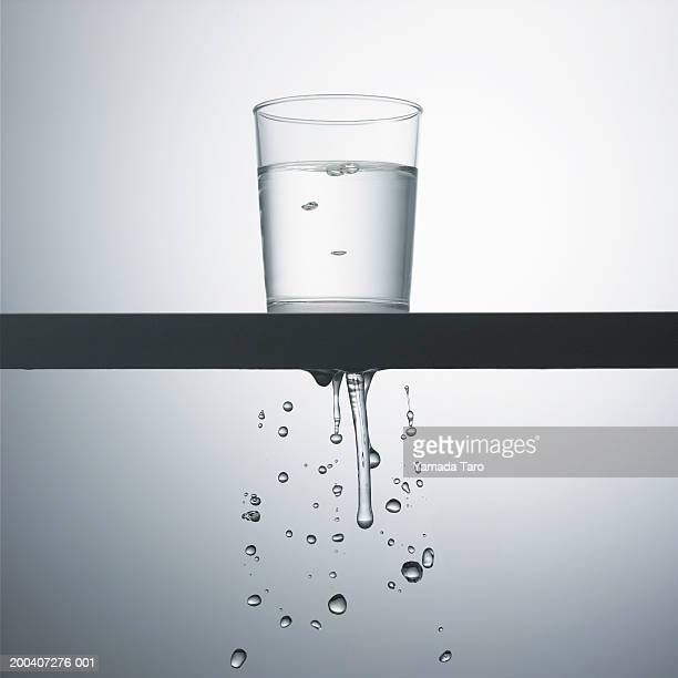 Glass of water leaking