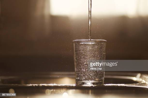 glass of water - trinkwasser stock-fotos und bilder