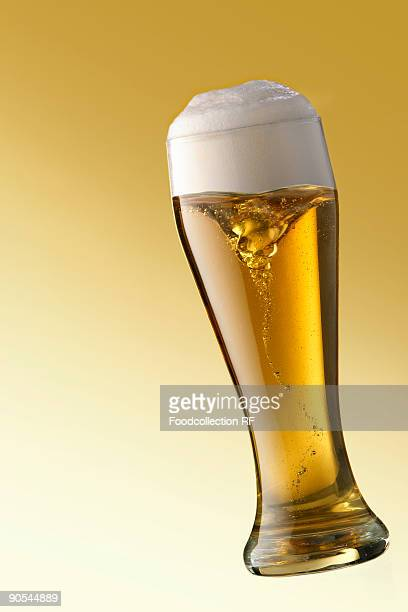 Glass of wheat beer, close up