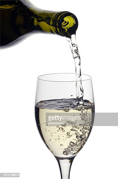 glass of white wine - chardonnay grape stock photos and pictures