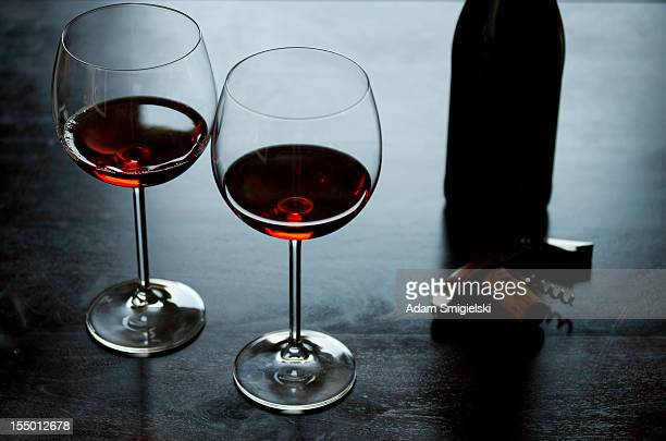 glass of wine - pinot noir grape stock photos and pictures