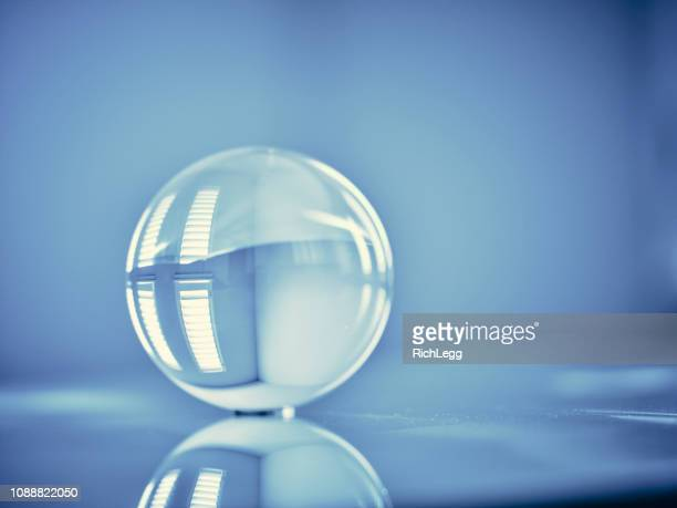Glass Orb Sphere Blue Toned