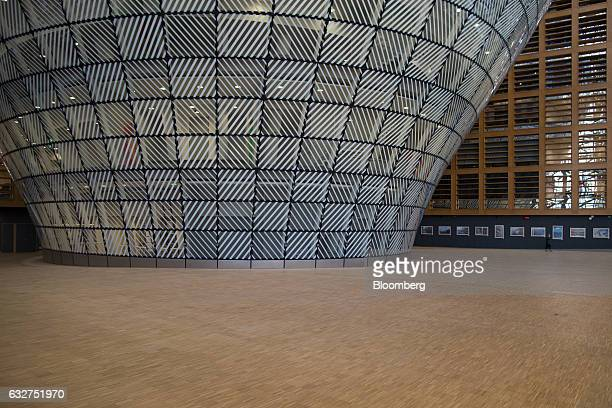 Glass panels surround the lanternshaped structure inside the European Union's new Europa building also known as the Space Egg ahead of a Eurogroup...