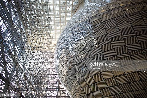 Glass panels surround the lantern-shaped structure inside the European Union's new Europa building, also known as the Space Egg, ahead of a Eurogroup...