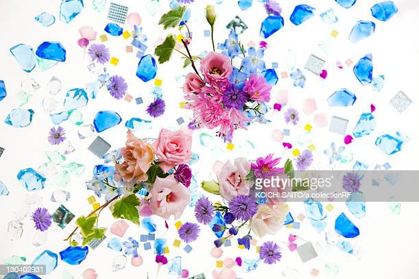 Glass Pieces and Flowers