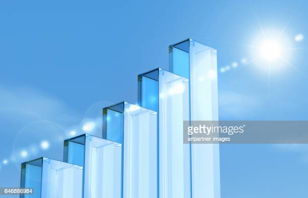 glass pillars forming a bar chart - honesty stock pictures, royalty-free photos & images