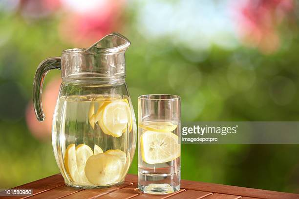 glass pitcher of fresh lemonade