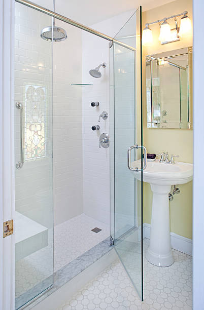 Glass Rain Forest Shower With Stained Glass Reflection Pictures