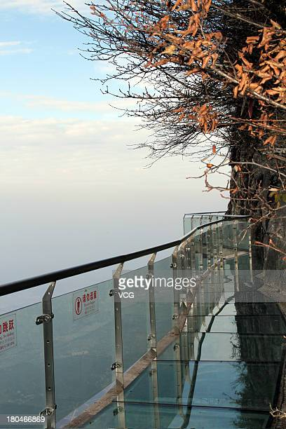 A glass road alongside a cliff is seen on Tianmen Mountain on November 9 2011 in Zhangjiajie Hunan Province of China The oriental 'Skywalk' 1430m...