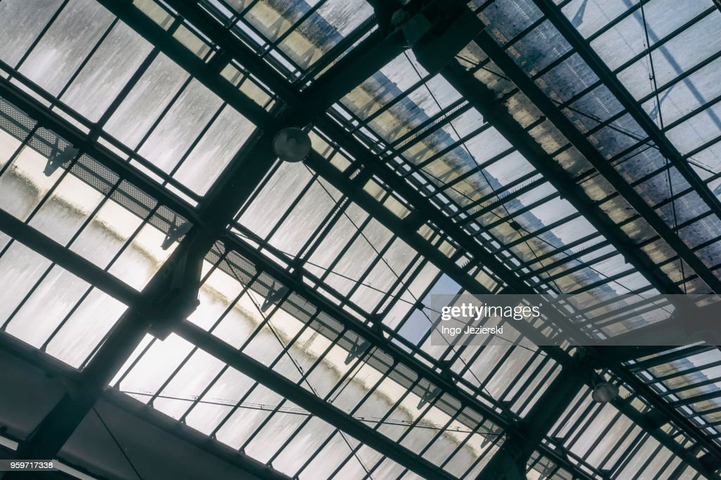 Glass roof of old railway station : Stock-Foto