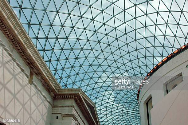 Glass roof of the British Museum. Cloudy weather outside make roof gray.