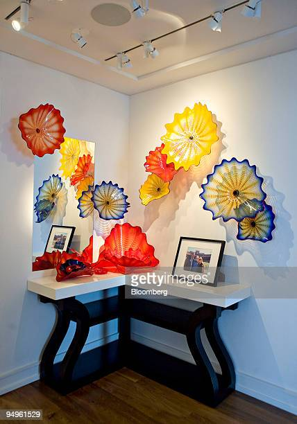 Glass sculptures by artist Dale Chihuly hang in the entryway of the apartment of Marc Dreier, founder of law firm Dreier LLP sentenced to 20 years in...