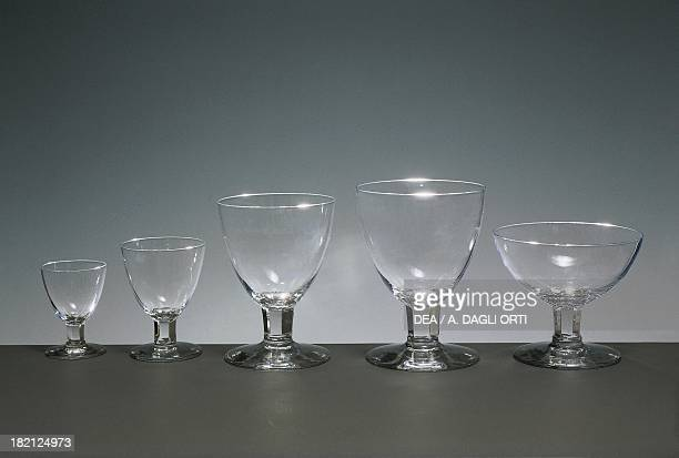 Glass service for liqueur vermouth red wine water and champagne Italy 20th century