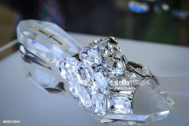 A glass shoe is displayed as part of the exhibition 'Cinderella' at ABC museum on February 27 2015 in Madrid Spain