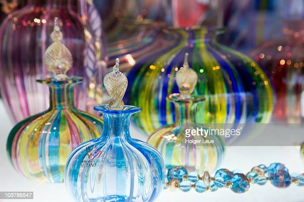 glass shop window display. - murano stock pictures, royalty-free photos & images