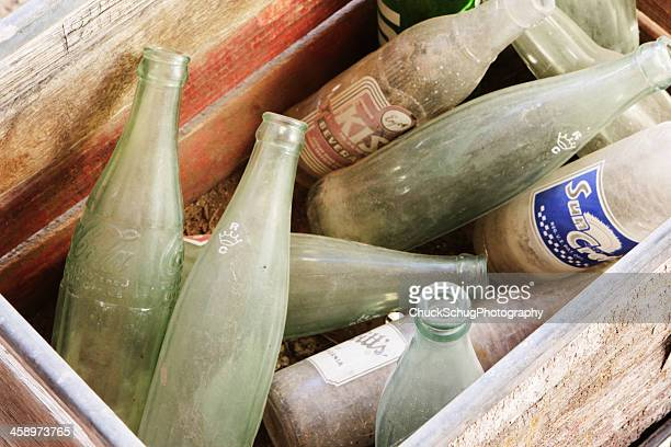 glass soda bottles vintage beverages - soda bottle stock photos and pictures