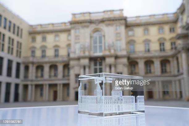 Glass souvenir stands in the Schlueterhof courtyard prior to the digitally streamed opening of the Humboldt Forum during the second wave of the...