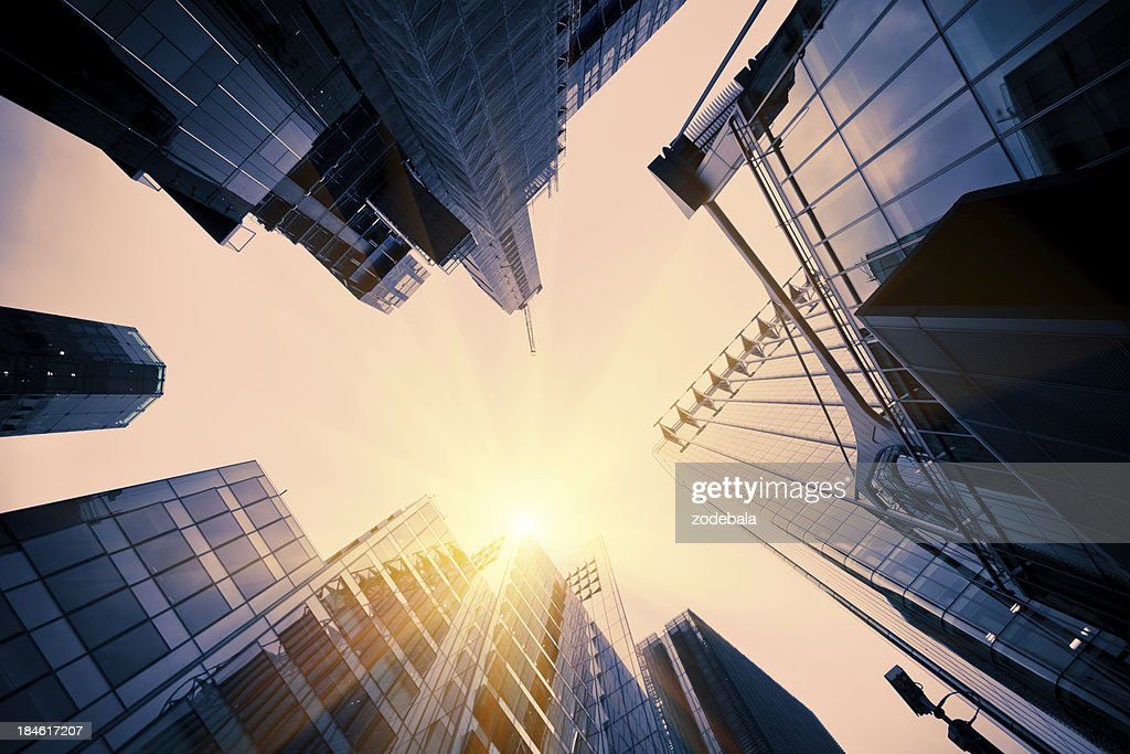 Glass Tall Buildings in Financial District : Stock Photo