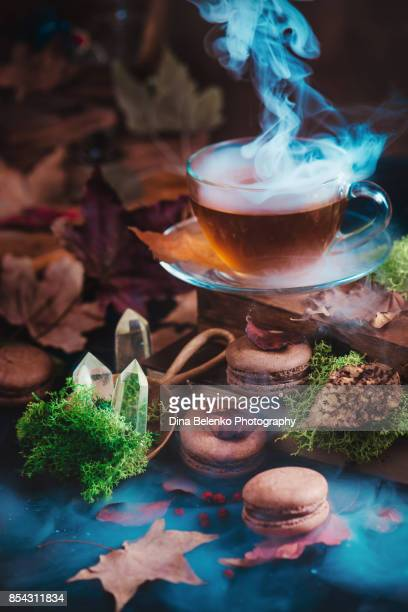 Glass tea cup in autumn still life with macarons, moss, maple leaves, wooden boxes, witch crystals and rising steam. Dark food photography with sweets.