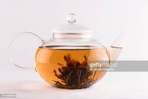 glass teapot with infused tea flower - jacopo caggiano stock pictures, royalty-free photos & images