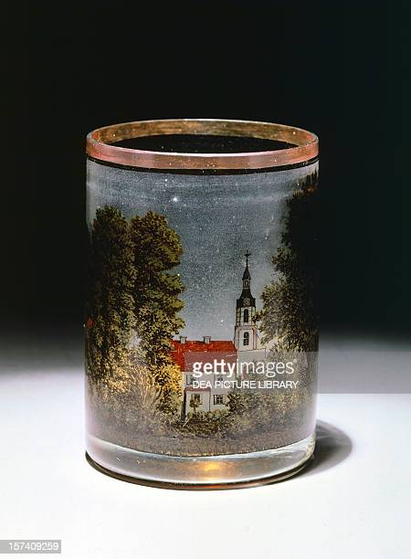 Glass tumbler with painted landscape Dresden Germany 19th century Cologne Museum Für Angewandte Kunst