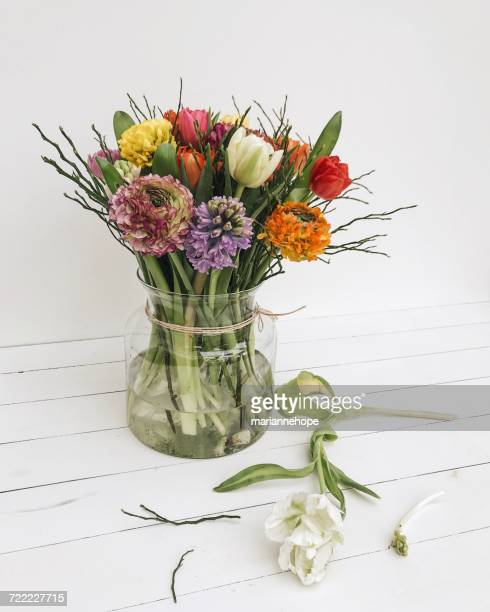Glass vase with spring flowers