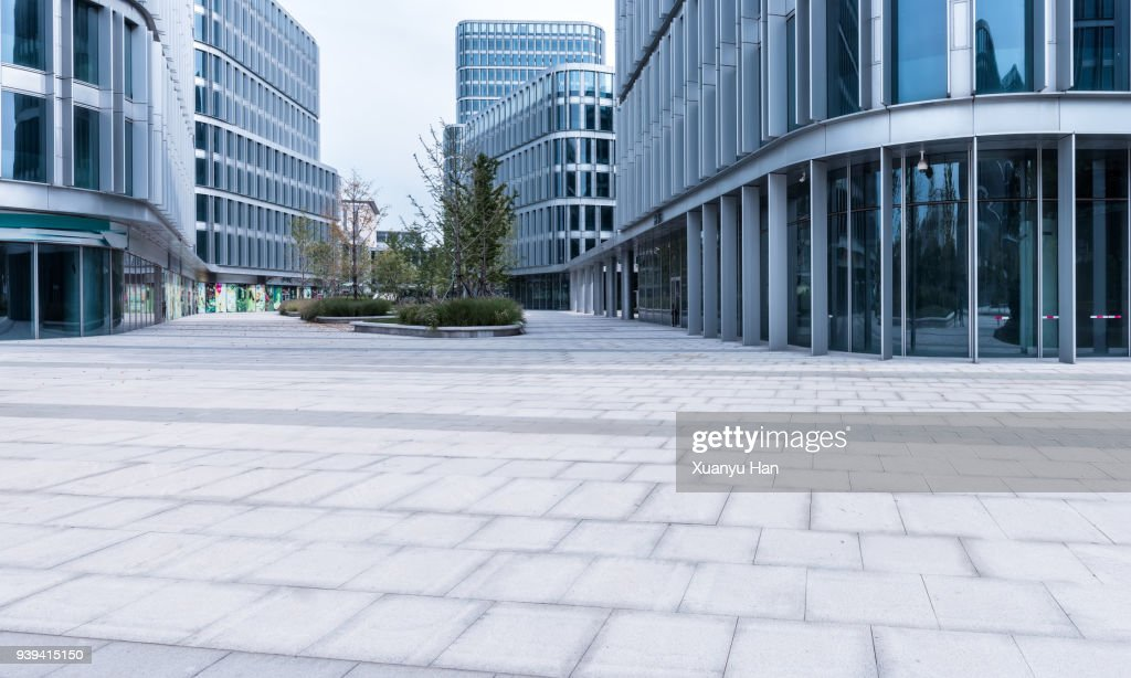 glass wall with reflection of modern buildings in midtown of beijing , Auto advertising background : Stock Photo