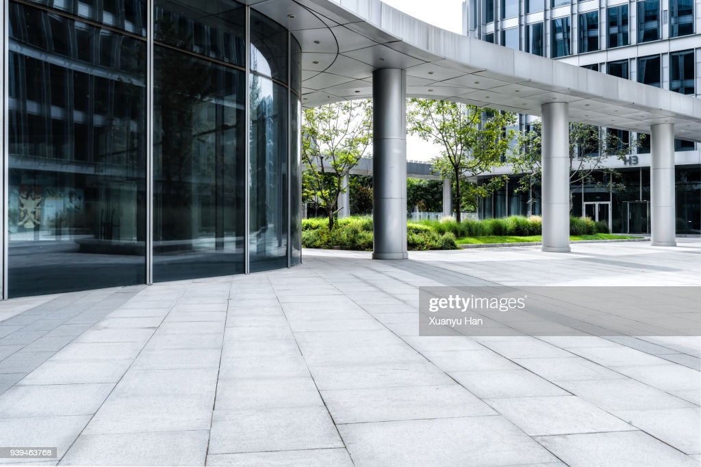 glass wall with reflection of modern buildings in midtown of beijing , Auto advertising background : Stock-Foto