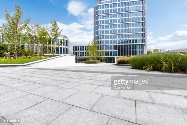 glass wall with reflection of modern buildings in midtown of beijing , auto advertising background - gehweg stock-fotos und bilder