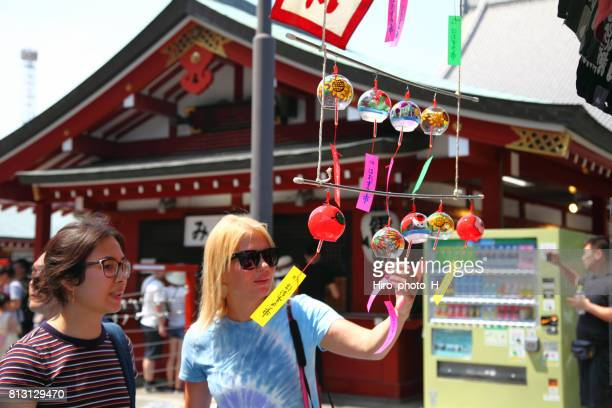 glass wind bell at sensoji temple, asakusa, tokyo - kanto region stock photos and pictures