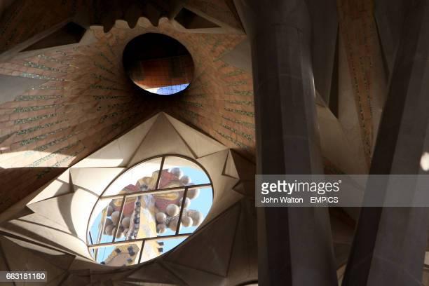 Glass windows inside Sagrada Familia Cathedral