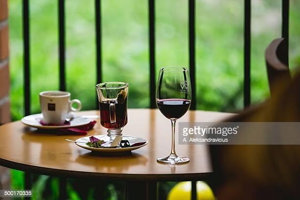 Glass wine and coffee