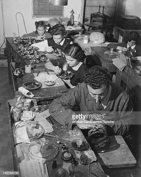 A glass workshop in Murano near Venice in northern Italy 1948