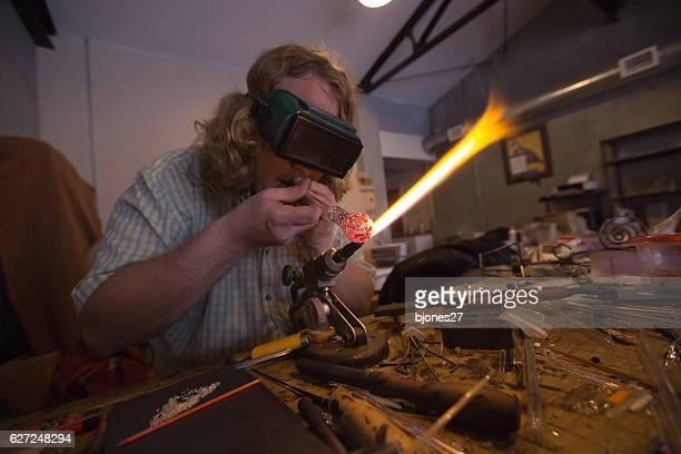 Glassblower doing torchwork