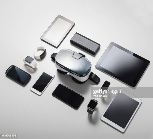 vr glasses and digital gadget - large group of objects stock pictures, royalty-free photos & images