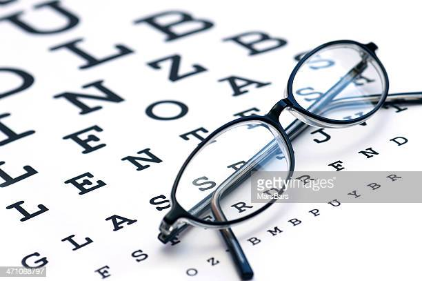 glasses and eyechart - eye chart stock pictures, royalty-free photos & images
