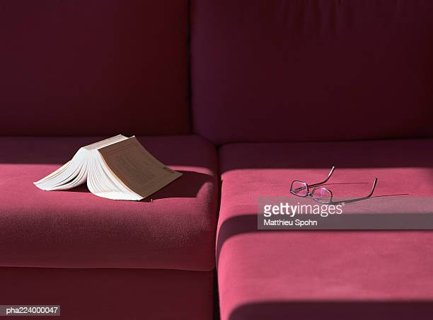 Glasses and open book sitting on couch.