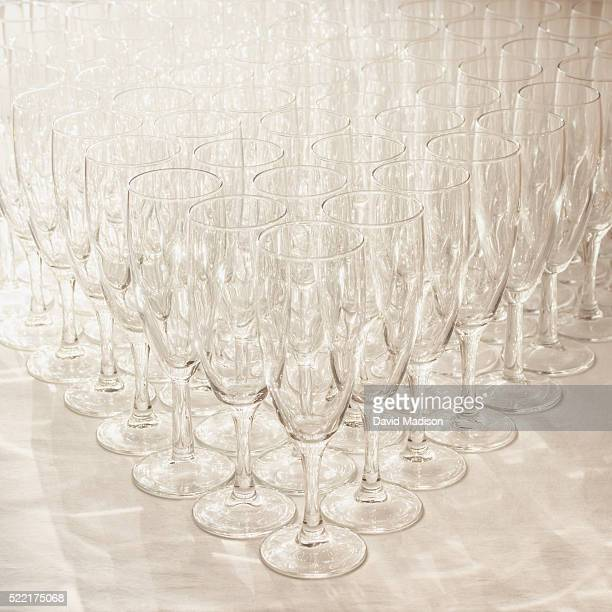 Glasses arranged in rows