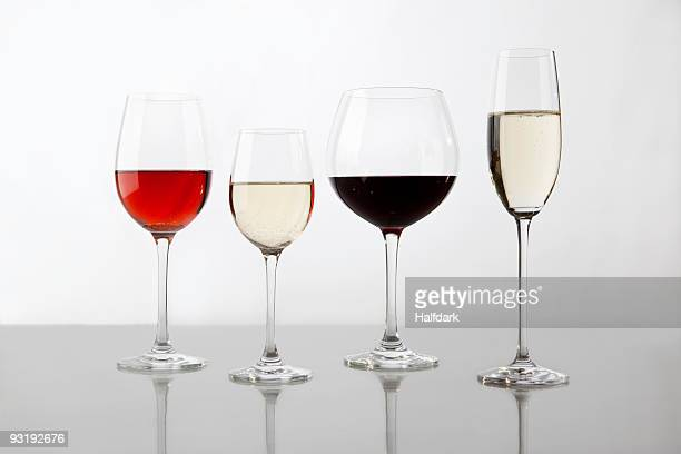 Glasses containing various wines
