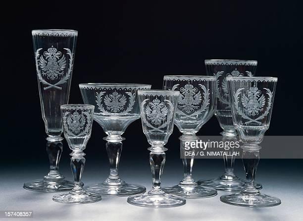 Glasses for Archduke Franz Karl of Austria, manufactured by Ludwig Lobmeyr. Bohemia, 19th century. Vienna, Hofsilber- Und Tafelkammer .
