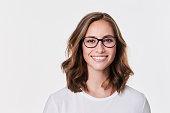 Glasses girl in white