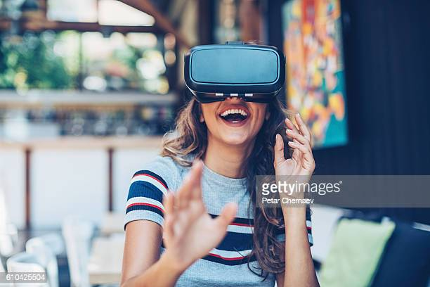 3-d glasses headset - stereoscopic images stock photos and pictures