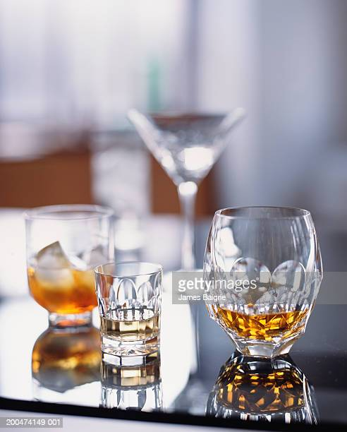 Glasses of assorted liquers