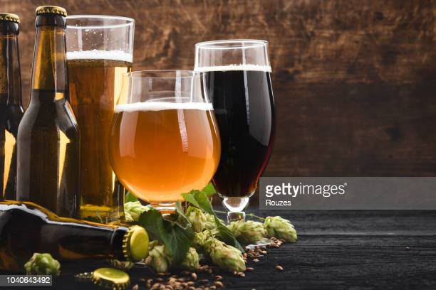 glasses of beer with green hops and wheat - brewery stock pictures, royalty-free photos & images