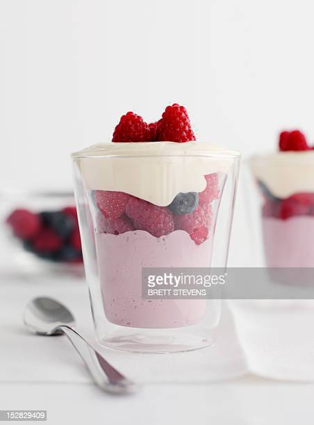 Glasses of berry coconut parfait