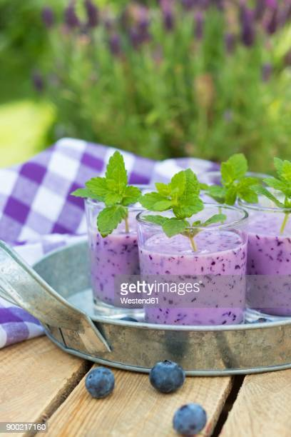 Glasses of blueberry smoothie with buttermilk and honey garnished with mint leaves